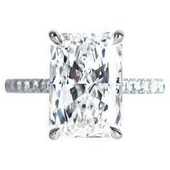 J. Birnbach GIA Certified 4.02 Carat E VVS2 Radiant Cut Diamond Solitaire Ring