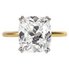 J. Birnbach GIA Certified 4.21 Carat Cushion Brilliant Diamond Solitaire Ring