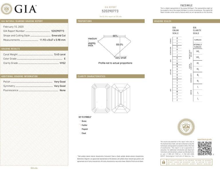 Women's or Men's J. Birnbach GIA Certified 5.43 Carat E VVS2 Emerald Cut Diamond Ring For Sale
