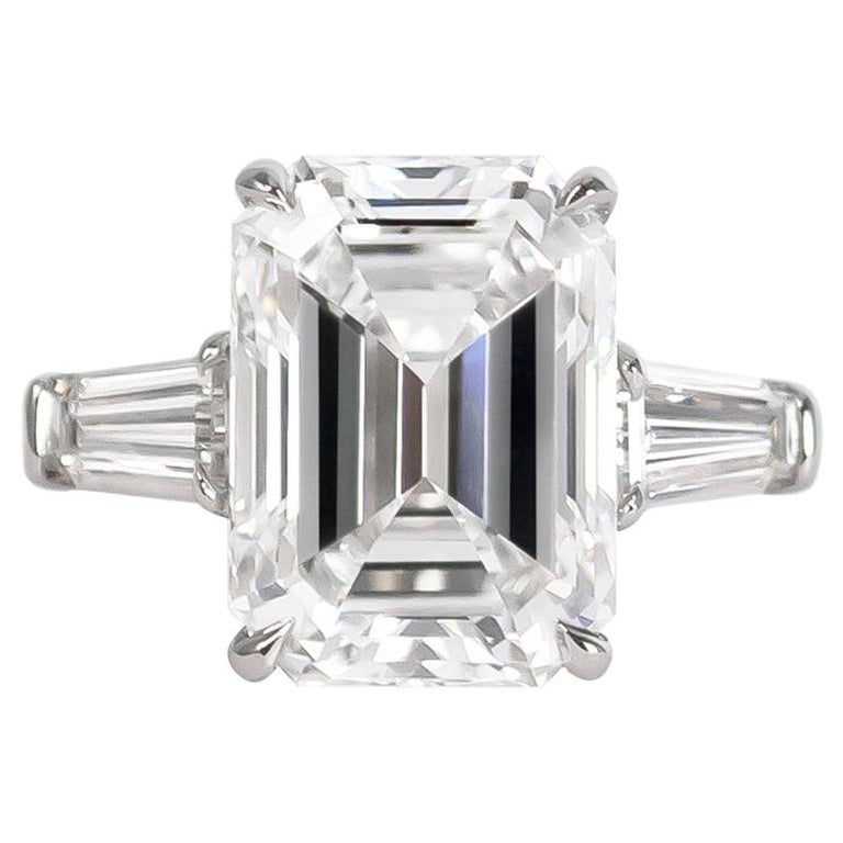 J. Birnbach GIA Certified 5.43 Carat E VVS2 Emerald Cut Diamond Ring For Sale
