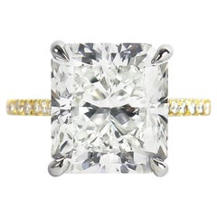 J. Birnbach GIA Certified 7.83 Carat Radiant Cut Diamond Solitaire Ring
