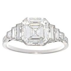 Jack Weir & Sons 2.02 Carat Emerald Cut Diamond Platinum Engagement Ring