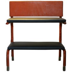 Jacques Quinet Shelf-Table, Red and Black Leather