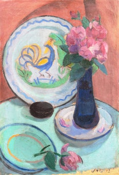 'Pink Dog Roses and a Quimper Plate', French Post-Impressionist, Salon d'Automne