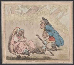 Cymon & Iphigenia, English caricature etching by James Gillray, 1796