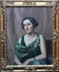 Pamela Abercromby - British Art Deco oil painting portrait lady green dress art