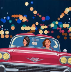 James Wolanin, Night Drive, Acrylic & Resin on Panel, Female Figurative-Red Car