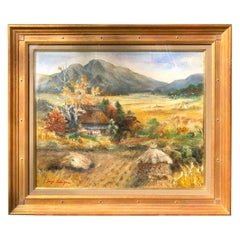 """Japan Captivating """"Mountain Views with Cottages"""" Oil Painting Signed Z. Nakayama"""