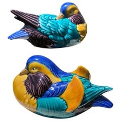 Japan Mandarin Duck Pair, Hand Painted Brilliant Colors, Signed