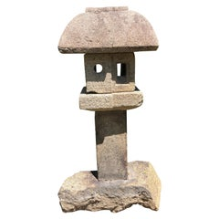 """Japanese Antique Tall """"Mountain Minka House"""" Stone Lantern"""