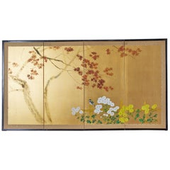 Japanese Four-Panel Screen Autumn Maple and Chrysanthemum
