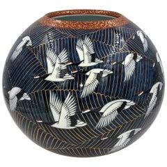 Japanese Hand Painted Blue White Porcelain Vase Master Artist