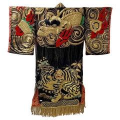 "Japanese Kyogen Noh Theater ""TIGER & DRAGON"" Dance Kimono Master work"