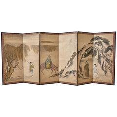 Japanese Meiji Six Panel Screen Chinese Sage on Donkey