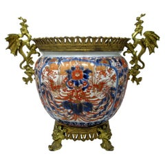 Japanese Meji Chinese Imari Porcelain Jardinière Centerpiece Gilt Bronze Mounts