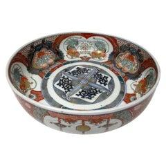 Japanese Meji Hand Painted Imari Dish Centerpiece Plate Cobalt Blue Red Gilt