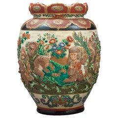 Japanese Satsuma Monkey Vase, circa 1880