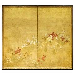 Japanese Two-Panel Screen, Rimpa Nadeshiko Flowers on Heavy Gold Leaf
