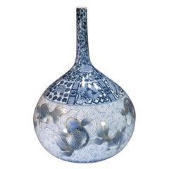Japanese White Blue Porcelain Vase by Master Artist