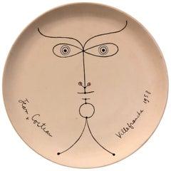 "Jean Cocteau Original Edition Ceramic Dish ""La Joconde"" , 1958"