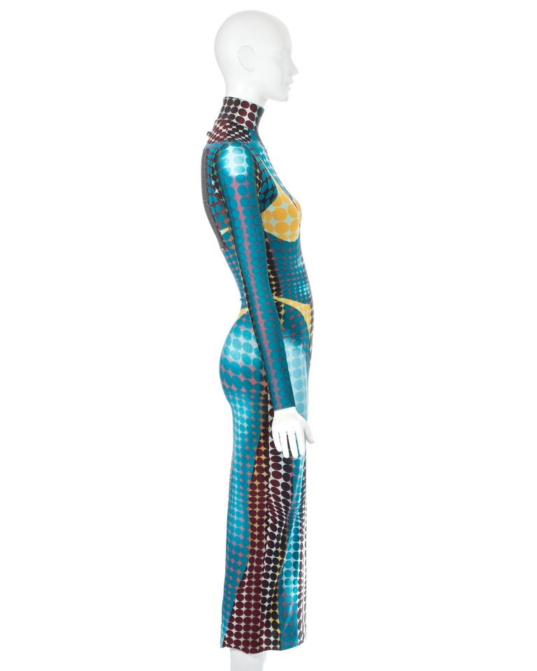Jean Paul Gaultier blue lycra spandex figure hugging evening dress, fw 1995 For Sale 2