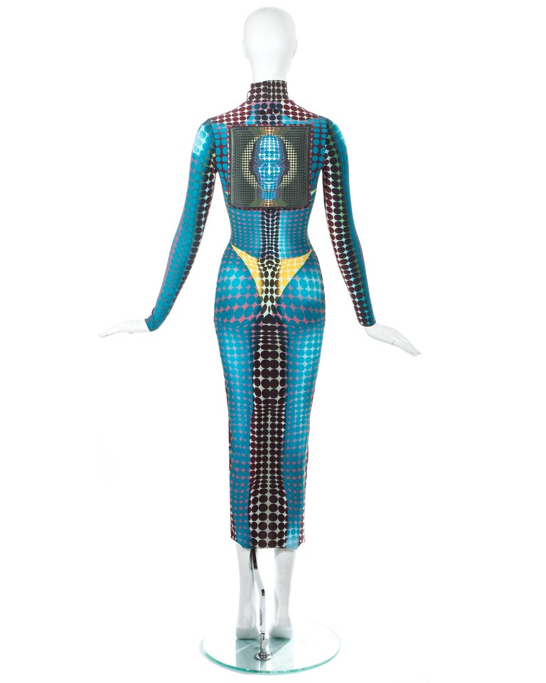 Jean Paul Gaultier blue lycra spandex figure hugging evening dress, fw 1995 For Sale 3