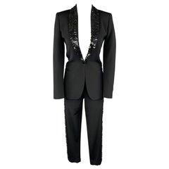 JEAN PAUL GAULTIER Size 6 Black Wool Button Shawl Collar Pants Suit