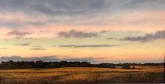 Meadow, Twilight, Pastoral Landscape at Dusk, Oil on Panel, Framed