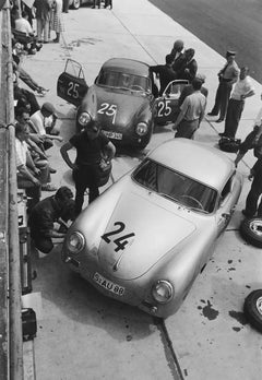 Two 356A Factory Cars in Pits, 1000 KM Race