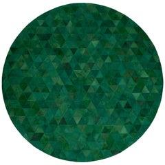 Jewel green Round Trilogia Emerald Customizable Cowhide Area Rug Large