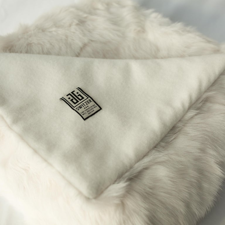 Finally, guilt free upcycled from glove factory remnants and sewn into our exclusive blanket fabric. 100% authentic Toscana sheep fur from Spain. Versatile and luxurious, can be purchased backed with JG Switzer exclusive bespoke dye lambswool or