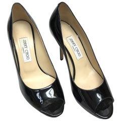Jimmy Choo Black Patent Leather Peeptoe Heels-38