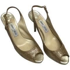 Jimmy Choo Gold Peeptoe Heels-38