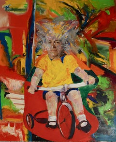 """""""Old Man Riding a Tricycle"""", John Baker, acrylic, mixed media, collage, red"""