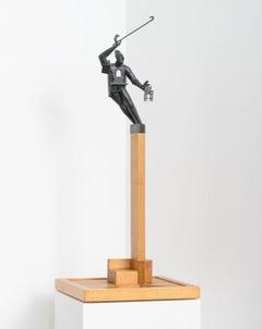 """Balance"" 1/1 in wood base, bronze sculpture by John Frame"