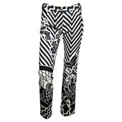 John Galliano for Dior Bondage Pants Black & White Graphic Leather Buckle 1990s