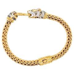 John Hardy Legends Macan Diamond Panther 18 Karat Yellow Gold Bracelet