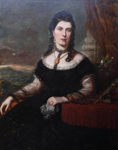 Portrait of a Lady - Scottish art Victorian oil painting Edinburgh society lady