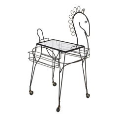 John Risley Black Iron Horse Bar Cart with Bottle Holders and Removable Tray
