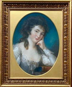 18th Century English Pastel Portrait of a Lady in a White Silk Dress.
