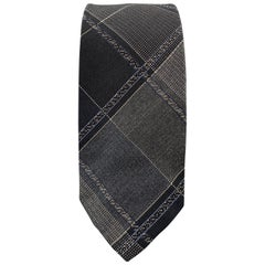 JOHN VARVATOS Black & Grey Plaid Silk Skiny Tie