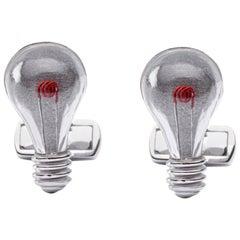 Jona Sterling Silver Light Bulb Cufflinks