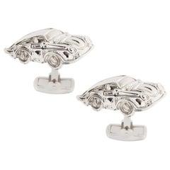 Jona Sterling Silver Rhodium-Plated Porsche Cufflinks