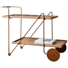 """""""Jorge"""" Bar Cart Modernist Style Gold Color Painted Steel and Walnut Woodwork"""