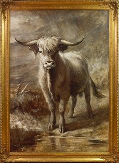 The Highlander - 19th Century Portrait Oil Painting of Scottish Highland Bull