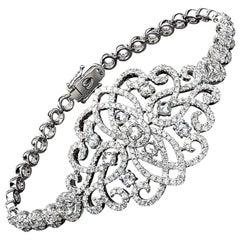 Jovane 18 Karat Gold, 3.91 Carat Rose and Brilliant Cut Diamond Lace Bracelet