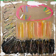Abstract oil painting, Joyce Weinstein, Country Fields with a Pink