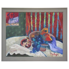 J. Ross American Oil on Canvas Painting Still Life with Fruits