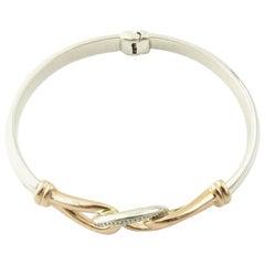 JTL Isreal 14 Karat Rose Gold and Sterling Silver Bangle Diamond Bracelet