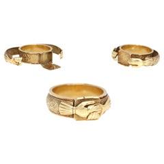 Judaic Engagement 18 Karat Gold Mazal Tov Secret Ring